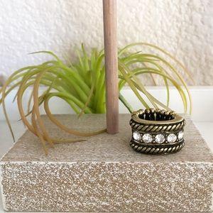Statement boho rectangular ring with stretchy band